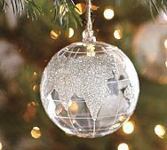 ✥ DIY Pottery Barn Globe Ornament ✥ use white painted base with silver glitter.