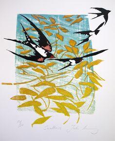Julia Manning RE artist/printmaker based in Somerset Linocut Prints, Art Prints, Block Prints, Bird Artwork, Bird Drawings, Bird Pictures, Art Sketchbook, Collage Art, Collages