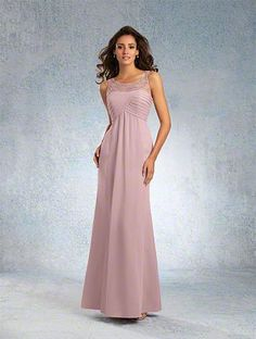 A Sophisticated Bridesmaid Dress with a Beaded Sheer Sleeveless Yoke, Pleated Bodice, Gathered Floor-Length Chiffon Skirt, and Dipped Neckline
