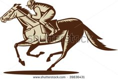 illustration of a horse and jockey racing viewed from the side isolated on white background #horserace #woodcut #illustration