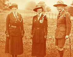 Once in England, Juliette met Lord and Lady Baden-Powell.  She very much enjoyed what they had done with the Boy Scout movement.  Picture of Olave Baden-Powell, Princess Mary and Robert Baden-Powell 1919
