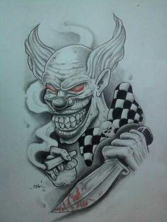 DeviantArt: More Like Flash tattoo by Demon Drawings, Tattoo Drawings, Body Art Tattoos, Jester Tattoo, Demon Tattoo, Good Clowns, Evil Clowns, Tattoo Gangsta, Evil Clown Tattoos
