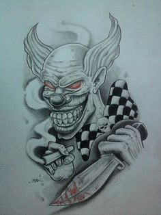 DeviantArt: More Like Flash tattoo by Evil Clown Tattoos, Skull Tattoos, Body Art Tattoos, Tattoo Drawings, Joker Tattoos, Evil Skull Tattoo, Evil Clowns, Scary Clowns, Jester Tattoo