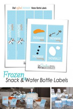 Download free Frozen Printables for your next party! Easily create Olaf Snowman Snacks and magically turn water into Melted Snowman with free printables!
