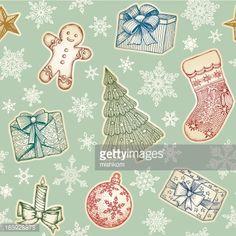 Vektorgrafik : Hand Drawn Weihnachten Nahtlose Muster