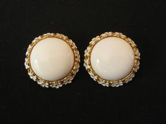1950's Trifari Signed White Wedding Earrings. $10.00, via Etsy.