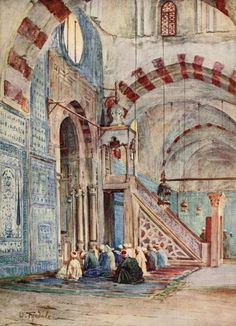 Tyndale, Walter (1855-1943) - Below the Cataracts 1907, Interior of the Blue Mosque, Cairo. #egypt