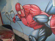 Pintura em lona crua  Homem aranha