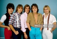 Scottish rock band 'The Bay City Rollers' pose for a portrait in circa 1978 in Los Angeles, California. Eric Faulkner, Duncan Faure, Alan Longmuir, Stuart 'Woody' Wood and Derek Longmuir. Bay City Rollers, City Boy, Pop Rock Bands, Teenage Dream, Classic Rock, Puppy Love, Childhood Memories, Poses, Portrait