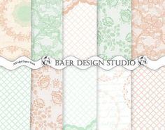 Peach and Mint Green Lace Digital Paper, Vintage Peach Lace Paper, 8.5x11 Printable Paper-peach and mint green wedding paper
