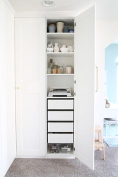 The IKEA PAX system was the perfect way to organize this messy corner of my offi. - Home Decor -DIY - IKEA- Before After Ikea Office Storage, Home Office Cabinets, Wardrobe Storage, Ikea Wardrobe, Cupboard Storage, Ikea Storage, Ikea Pax, Pax System, Ikea Pax Wardrobe