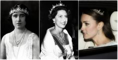 one more blog about royals | Queen Mother (then Duchess of York), Princess Margaret, and Duchess of Cambridge wearing the Lotus Flower/Papyrus Tiara