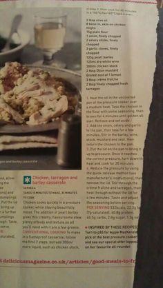 Chicken, tarragon and barley casserole
