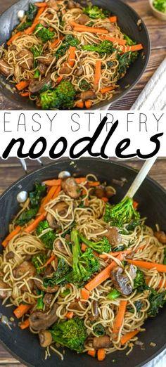 Vegetable Stir Fry Noodles, Vegan Stir Fry Noodles, Chicken Stir Fry With Noodles, Chinese Stir Fry Noodles, Stir Fry Pasta, Stir Fry Recipes, Cooking Recipes, Easy Cooking, Fried Noodles Recipe