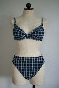 Jantzen Blue and White Plaid Seersucker Vintage Bikini Swimsuit Size 10, SOLD!!!