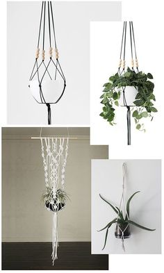 35 Creative Hanging Plant Projects for Scandinavian Style. Signs close to the plants usually offer relevant quotations. Like a lot of the plants on this list, you also will need to be on the lookout f. Plant Projects, Macrame Projects, Diy Projects, Diy Yarn Holder, Diy Hanging Planter, Indoor Planters, Hanging Pots, Plants Indoor, Ideias Diy
