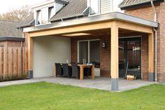 Mooie strakke eiken overkapping Modern Backyard, Backyard Landscaping, Outdoor Rooms, Outdoor Living, Cool Sheds, Porch Veranda, Patio Plans, Garden Pavilion, Pool Lounge