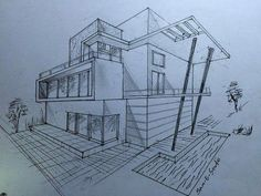 modern house drawing all home interior ideas - 2 point perspective drawing house Architecture Art Nouveau, Plans Architecture, Modern Architecture House, Modern House Design, Modern Houses, Architecture Design, Drawing Architecture, Modern Mansion, Dream House Sketch