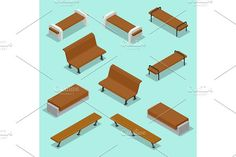 Bench. Outdoor park benches Icon Set. Wooden benches for rest in the park. Flat 3d isometric vector illustration for infographics. . Infographic Elements
