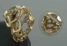 K18ダイヤリング、0,25ct, 幅20mm, 12.1g