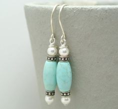 Turquoise Bead with White Swarovski Pearl by happylittlegems, $35.00