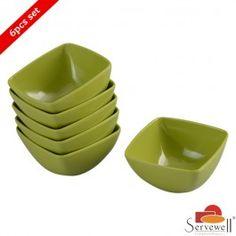Servewell 6 Pc Square Katori Set - Green