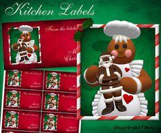 "Gingerbread Girl ""Chocolate Santa"" Kitchen Labels - Digital Download by DinkyPrints on Etsy"