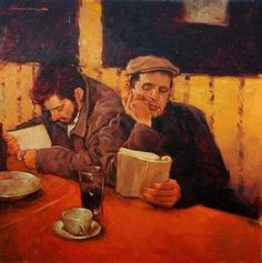 'The Readers' (artwork by Joseph Lorusso) People Reading, Book People, I Love Books, Good Books, Illustrations, Illustration Art, Joseph Lorusso, Book Art, Library Art