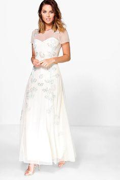 Beauty Embellished Floral Maxi Dress Cream 4ufashion.eu