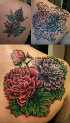 Cover up Tattoo with Peonies by Suzanna Fisher.  This is the artist that will be doing My cover up! Ideas for cover up | tattoos picture cover up tattoo