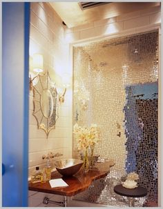 mosaic mirror wall is amazing