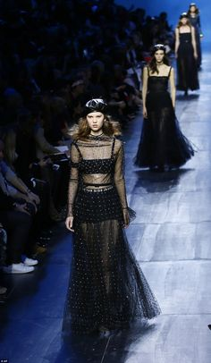 Sheer delight: The models looked incredible in the trademark style Dior of late...