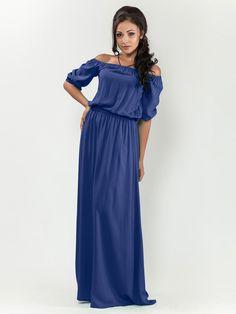 Blue dress Party dress Long dress  Dress floor  Dress free  Dress exposed shoulders   Summer Dress
