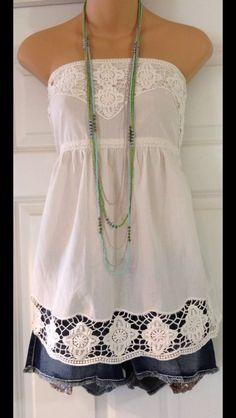 Simply Summer! Embellished tube top n cut off denimn skirt!!