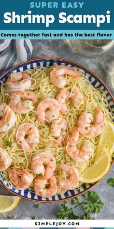 Shrimp Scampi Shrimp Recipes Easy, Shellfish Recipes, Entree Recipes, Seafood Recipes, Cooking Recipes, Lemon Recipes, Dinner Recipes, Shrimp Dishes, Fish Dishes