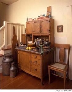 Modernizing the Vintage Kitchen / Or how best to avoid cognitive dissonance in design    Nothing makes a kitchen feel vintage like a Hoosier cabinet. Photo by Linda Svendsen