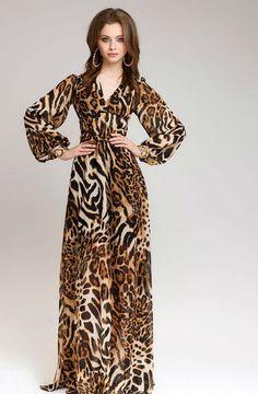 ad0cdb55026 Boho Maxi Dress Chiffon Animal Print Summer Dress by FashionDress8 Animal  Print Summer Dresses