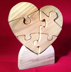 Heart Puzzle made of Wood for Your Valentine. by PuzzlesnToysnWood