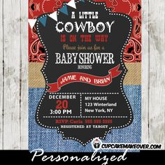 Western themed Cowboy Baby Shower invitations featuring red bandanna print with blue denim and a touch of burlap. Perfect for celebrating the little cowboy on the way. #cupcakemakeover