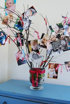 Picture Tree= branches, ribbon, pictures, mini clothes pins- EASY