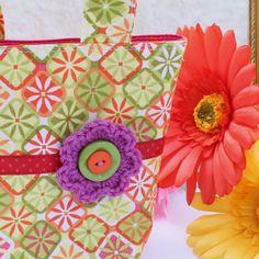 SALE! Tiny Tote Bag - 'Citrus Squares' - orange, lime, pink - FREE UK P&P £5.00