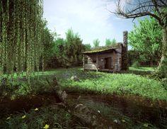 ArtStation - Cabin in the Woods, Jonathan Lampel