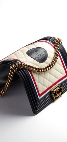 boy CHANEL flap bag, lambskin & calfskin-ivory, red, navy blue & black - CHANEL 2016
