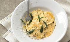 Thomasina Miers chicken, foie, quince and  cobnut ravioli