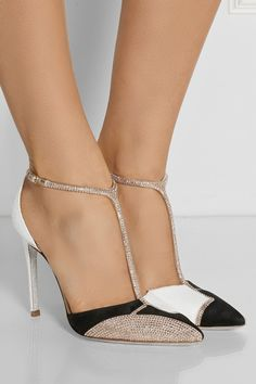 René Caovilla | Swarovski crystal-embellished karung and suede T-bar pumps | NET-A-PORTER.COM