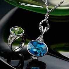 white gold Peridot and diamond ring, & white gold Topaz and diamond pendant Somerset West, Fine Jewelry, Jewellery, Diamond Pendant, Peridot, Jewelry Collection, Topaz, White Gold, Vans