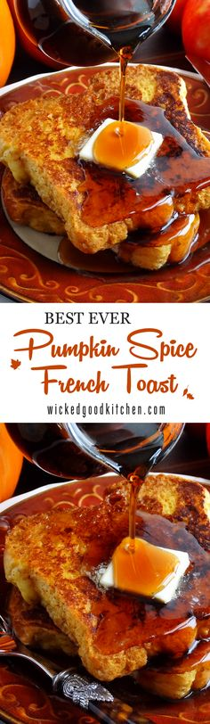 Crazy good yet distinctive, this Pumpkin French Toast will knock your socks off. It is made with pumpkin butter and is the perfect way to start the morning on weekends and holidays—not just during the fall, but for early spring Maple Syrup Harvest season that runs through April. Recipe includes variations for Grand Pumpkin Spice French Toast with Bourbon made with Grand Marnier® and a dairy free option. Serve with our Bourbon-Cider Maple Syrup for an extra special brunch! | breakfast brunch…