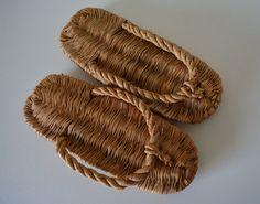 Vintage Japanese hand woven straw sandals for tea ceremony, waraji or warazori