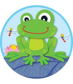 """Playful and light-hearted FUNky Frogs two-sided decorations are perfect for hanging or window display. Can also be used to accent bulletin boards or label learning centers!  Their colorful designs are printed on the front and back and each decoration features a drilled hole for easy hanging. Approximate size is 15"""" x 15"""".  Look for coordinating products in the FUNky Frogs design to create a lively and fun classroom theme!"""