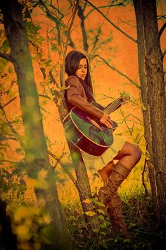 senior_cowgirl_country_girl_vintage_sunset_boots_guitar